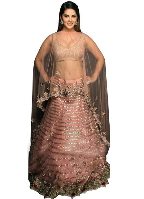 Sunny Leone Peach Nylon Net Bollywood Lehenga Choli