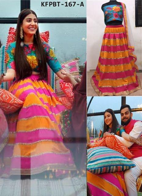Anushka Sharma Banglori Silk Orange & Pink Lehenga Choli