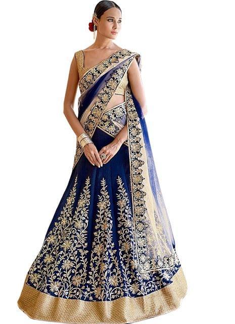 Buy Dark Blue Banglori Silk Heavy Lehenga Choli