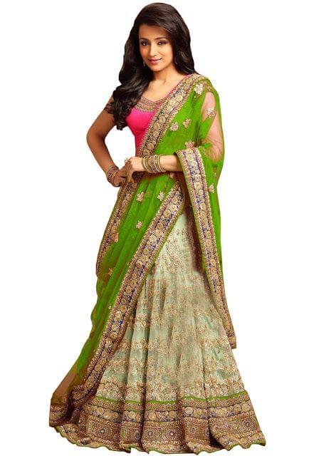 Buy Nylon Net Cream & Parrot Green Designer Lehenga Choli
