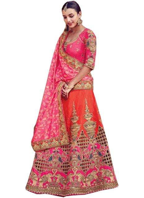 Buy Jacquard Silk With Pedding Georgette Dark Orange & Pink Heavy Lehenga Choli