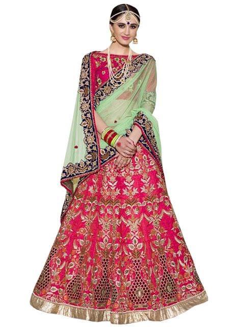 Buy Georgette With Nylon Net Rani Pink & Rama Green Heavy Lehenga Choli