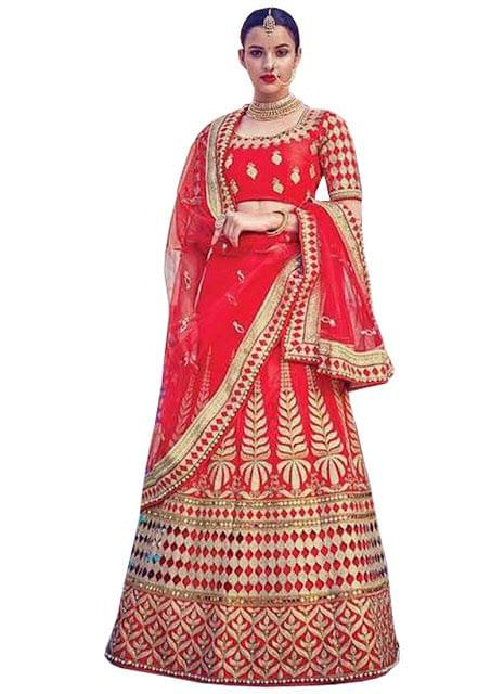 Buy Malabary Silk Red Replica Lehenga Choli