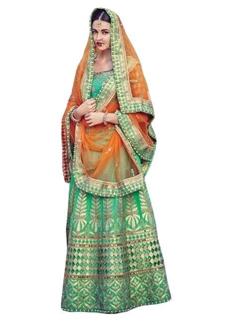 Buy Malabary Silk Rama Green Replica Lehenga Choli