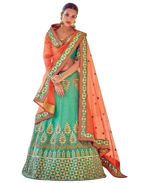 Buy Malabary Silk Rama Green Heavy Lehenga Choli