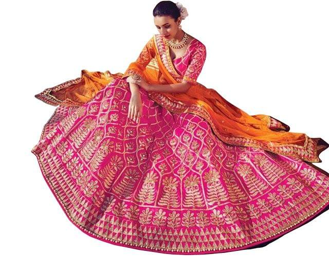 Buy Malabary Silk Rani Pink Heavy Bollywood Lehenga Choli