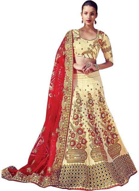 Buy Phantom Silk Yellow Heavy Lehenga Choli