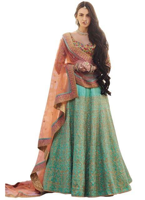Buy Phantom Silk Rama Green Heavy Lehenga Choli