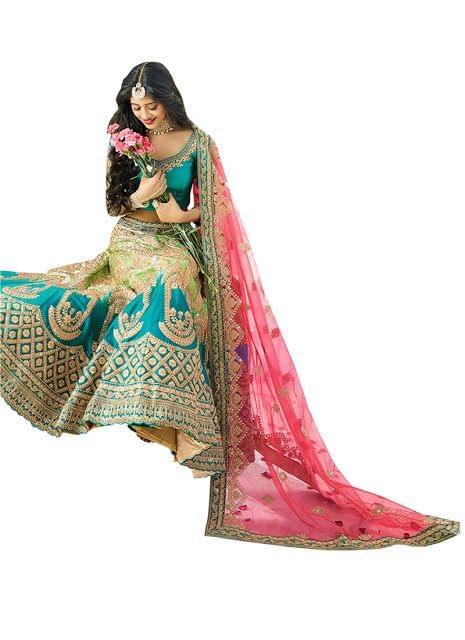 Nayra Satin Silk Sky Blue Bollywood Lehenga Choli