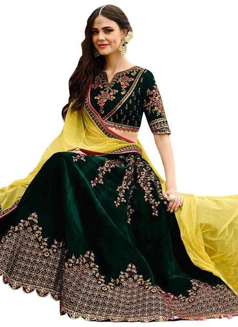 Buy Banglori Silk Dark Green Heavy Replica Lehenga Choli