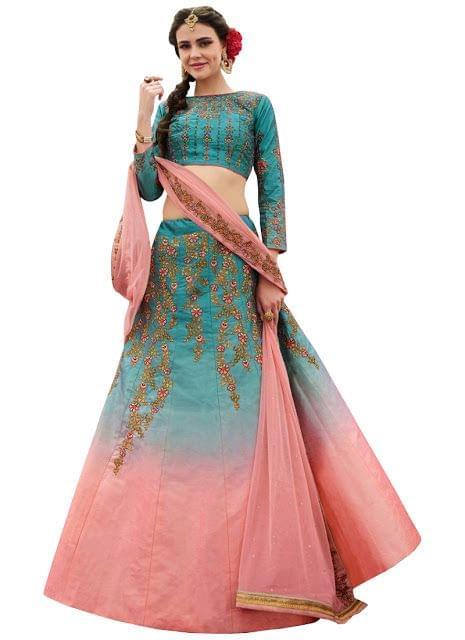 Buy Padding Silk Multi Color Heavy Replica Lehenga Choli