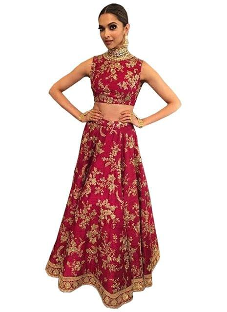 Deepika Joya Silk Red Lehenga Choli At Life Ok Screen Award