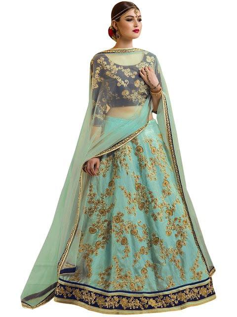 Buy Banglory Silk Sky Blue Replica Lehenga Choli