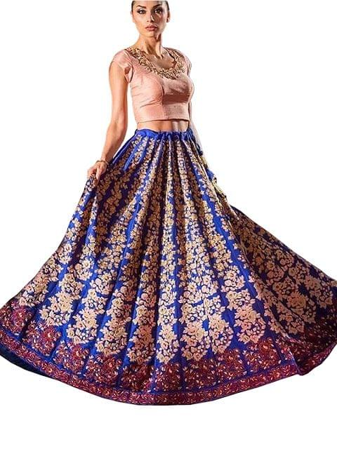 Buy Banglori Silk Blue & Peach Replica Lehenga Choli