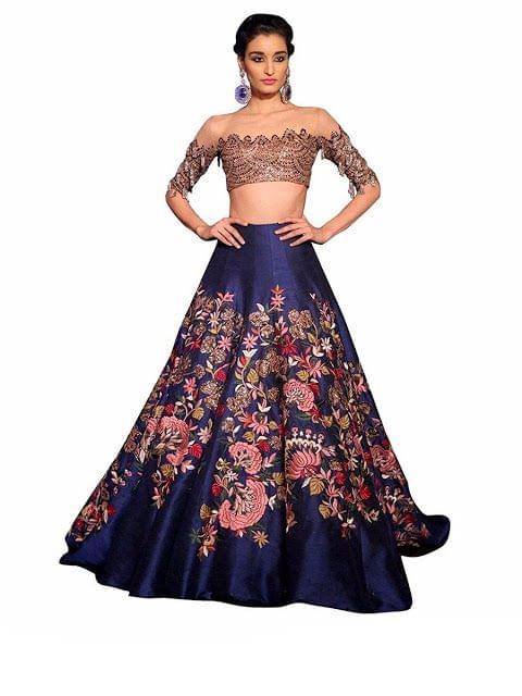Buy Banglori Silk Navy Blue Lehenga Choli
