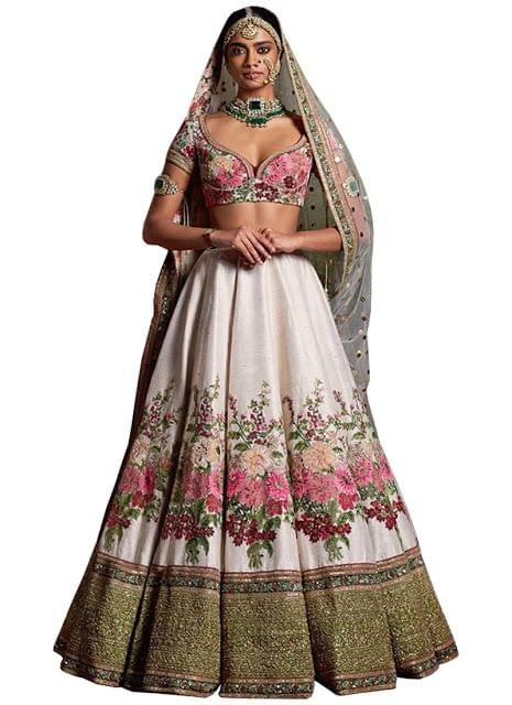 Buy Banglori Silk Off White Heavy Replica Lehenga Choli