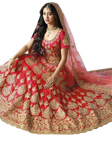 Nayra Taffeta Silk Red Heavy Lehenga Choli