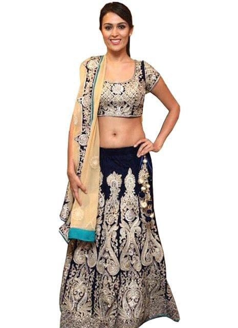 Buy Net And Velvet Navy Blue Lehenga Choli