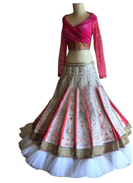 Buy Off White & Pink Banglori Silk With Banarsi Lehenga Choli