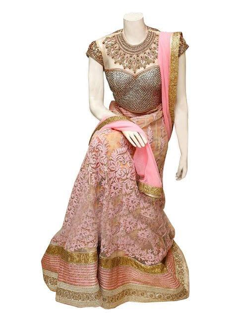 Buy Beautiful Pink Net Heavy Work Lehenga Choli