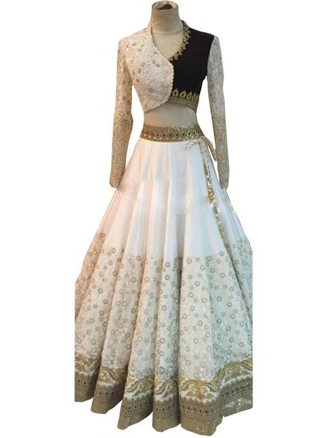 Buy Attractive White Net & Georgette Lehenga Choli
