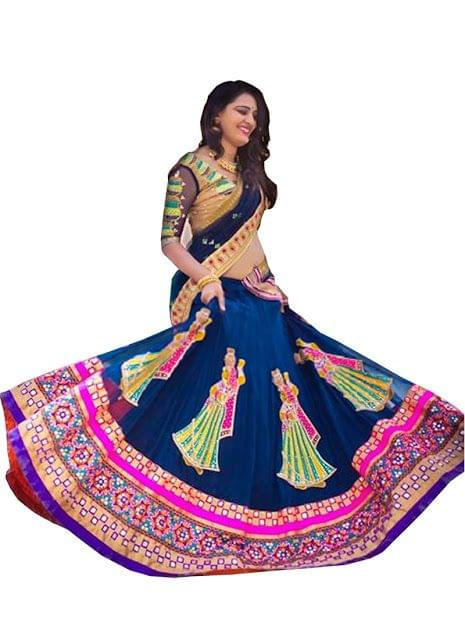 Buy Blue And Multi Color Georgette Navratri Special Lehenga Choli