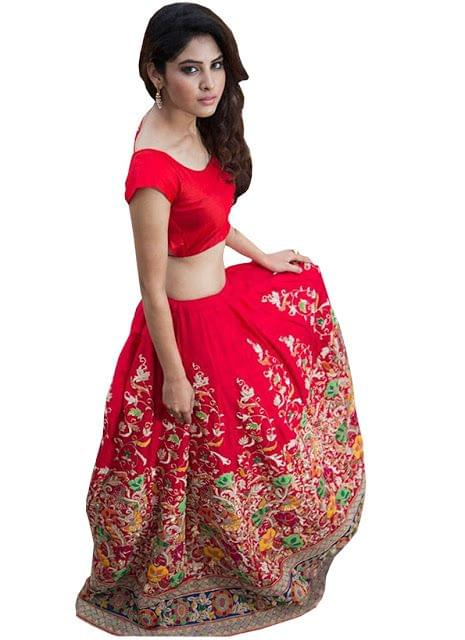 Buy Banglori Silk Red Heavy Replica Lehenga Choli
