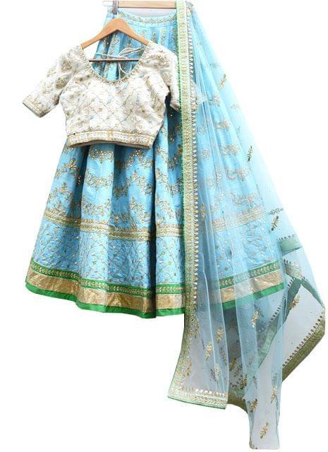 Buy Sky Blue Banglori Silk Heavy Replica Lehenga Choli