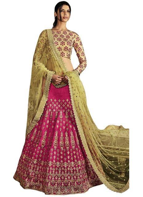 Buy Banglori Silk Pink & Cream Replica Lehenga Choli