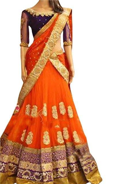 Buy Orange & Purple Net Lehenga Choli
