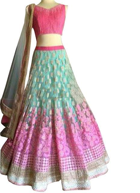 Stylish Pink And Blue Net Lehenga Choli