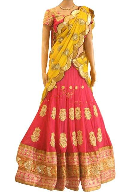 New Pink And Yellow Georgette Lehenga Choli