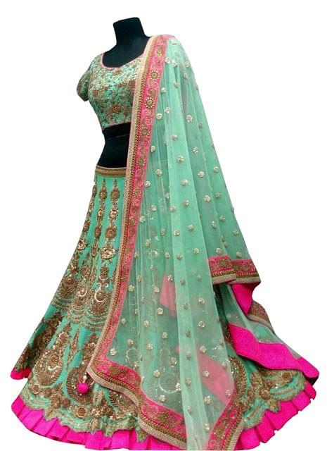 Buy Banglori Silk Light Green Designer Lehenga Choli