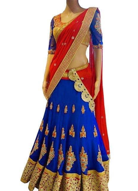 Buy Blue & Red Georgette Designer Lehenga Choli