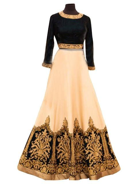 Buy Georgette Black & Beige Replica Lehenga Choli
