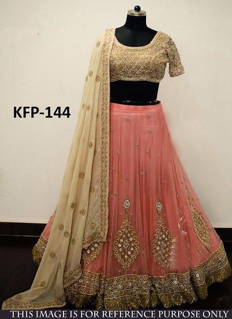 Buy Nylon Mono Net Peach & Cream Heavy Lehenga Choli