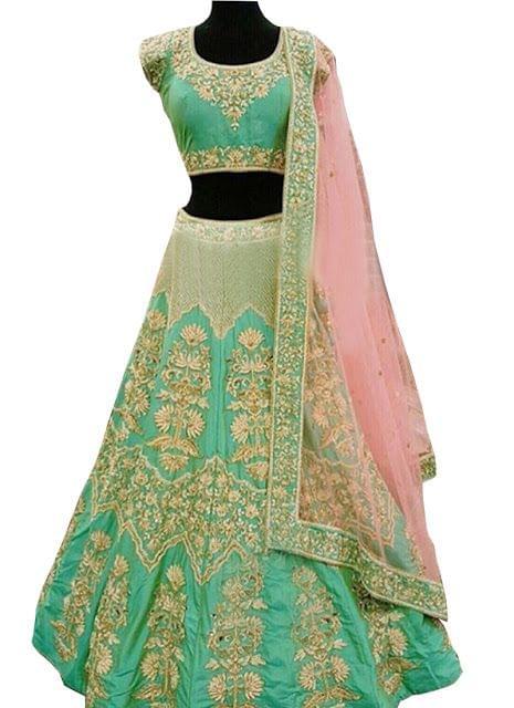 Buy Banglori Silk Cyan & Pink Heavy Lehenga Choli