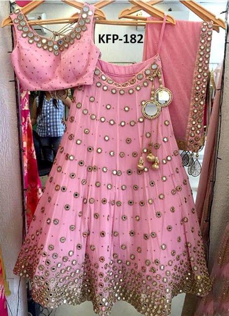 Buy Banglori Silk Pink Heavy Replica Lehenga Choli