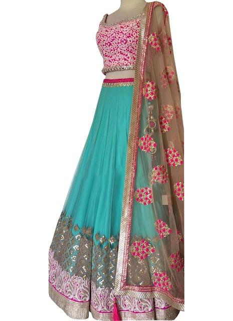 Buy Nylon Mono Net Sky Blue & Pink Replica Lehenga Choli