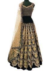 Buy Banglori Silk Black Heavy Replica Lehenga Choli