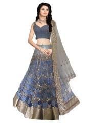 Buy Banglori Silk Navy Blue & Gray Bollywood Lehenga Choli