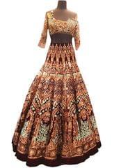 Buy Banglori Silk Brown Replica Lehenga Choli