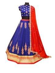 Buy Banglori Silk Blue & Red Replica Lehenga Choli