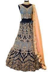 Buy Banglori Silk Navy Blue & Peach Heavy Lehenga Choli