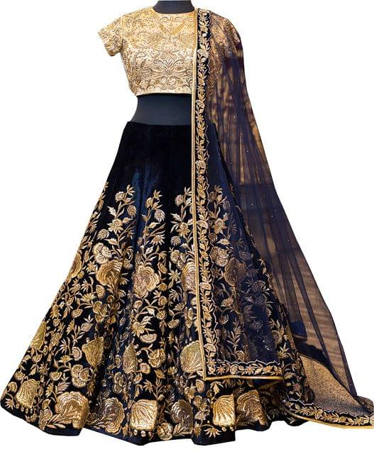 Buy Velvet Dark Blue Replica Lehenga Choli