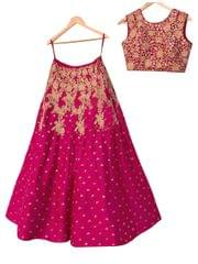 Buy Banglori Silk Rani Pink Replica Lehenga Choli