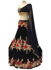 Buy Banglori Silk Black Replica Lehenga Choli