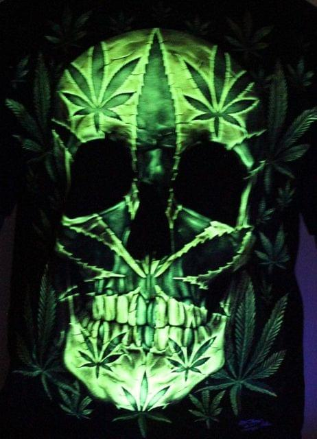 Hearb And Skull Glow In The Dark Radium Neon UV High definition 3D Club Tshirt  Buy online India