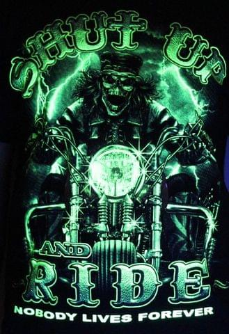 Shut Up And Ride - Biker Tatto Glow in the Dark Radium Neon UV High definition 3D Club Tshirt Buy online in India