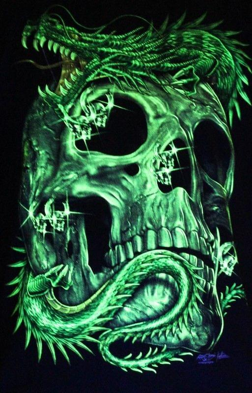Dragon Love - Skull - Glow in the Dark Radium Neon UV High definition 3D Club Tshirt Buy Online in India